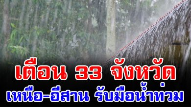 Photo of เตือนฝนตกหนัก 33 จังหวัด เหนืออีสานเสี่ยงน้ำท่วม