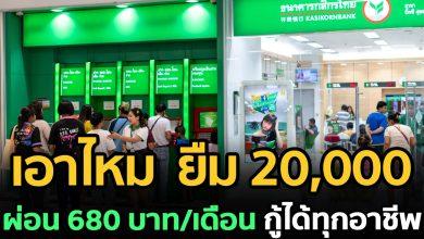 Photo of กสิกรไทย เปิดให้ยืมรายละ 20,000 ผ่อนเพียง 680 ต่อเดือน