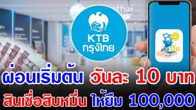 Photo of มาใหม่ สินเชื่อเงินสิบหมื่น ธ.กรุงไทย ผ่อนเริ่มต้นวั นละ 10 บา ท