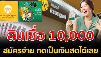 Photo of สินเชื่อบัตรกรุงศรี ให้ยืมเริ่มต้น 10,000 ก ดเป็นเงิ นส ดได้