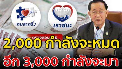 Photo of 2,000 กำลังจะหมด อีก 3,000 กำลังจะมา เยียวยารอบใหม่